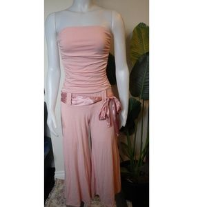 Body Central strapless capri jumpsuit pink small